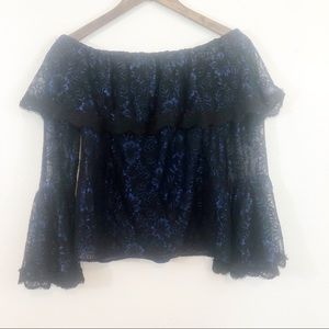 WHBM Black/Blue lace lined offshoulder bell sleeve